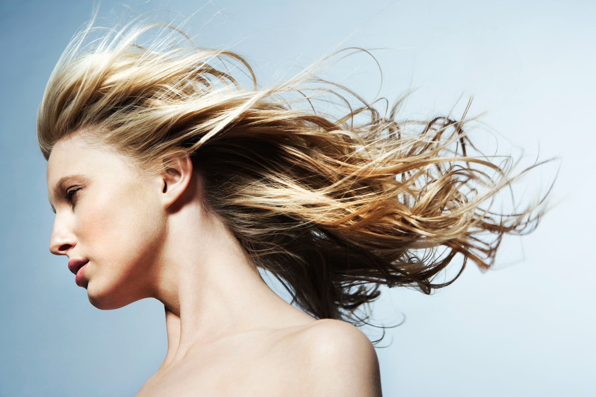 Woman with windblown hair